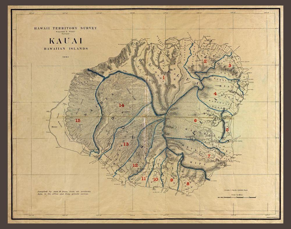 photograph about Printable Map of Kauai known as 1903 KAUAI, Hawaii Islands, antique MAP, 20\