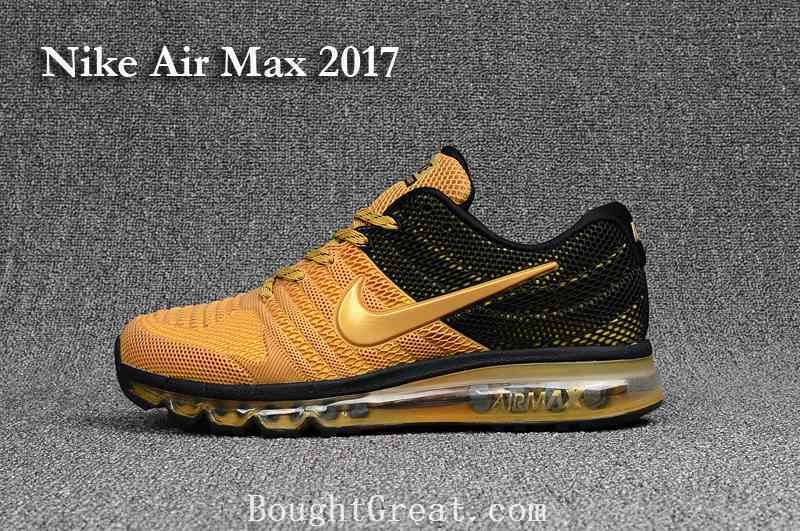 buy online 0fff6 d68d4 New Nike Air Max 2017 KPU Men Black Gold