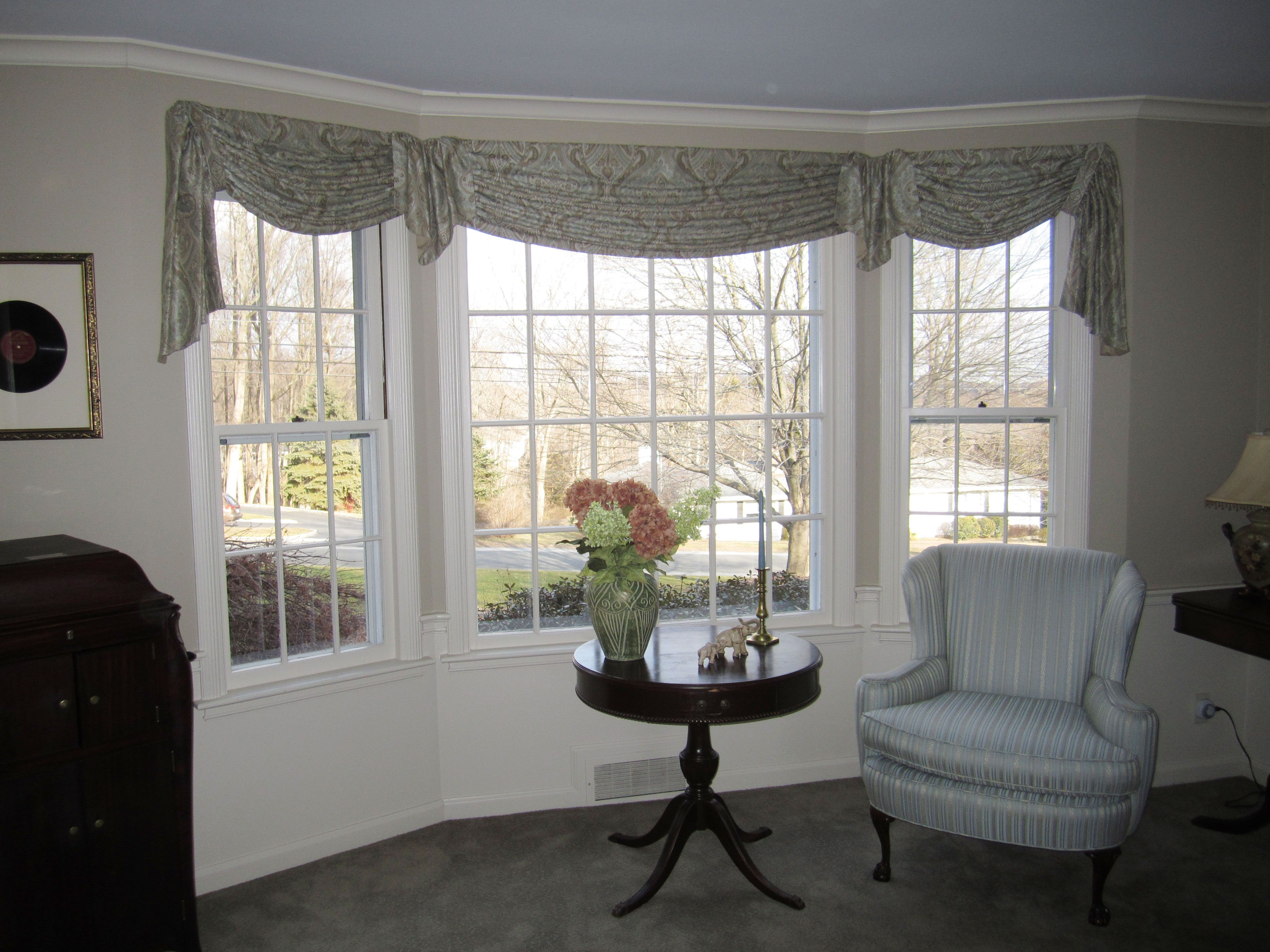 Gathered Tab Swags Jabots For Bay Window Dining Room Windows