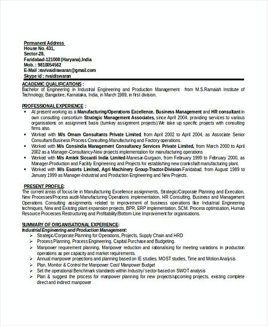 Production Manager Resume Template Doc  Professional Manager