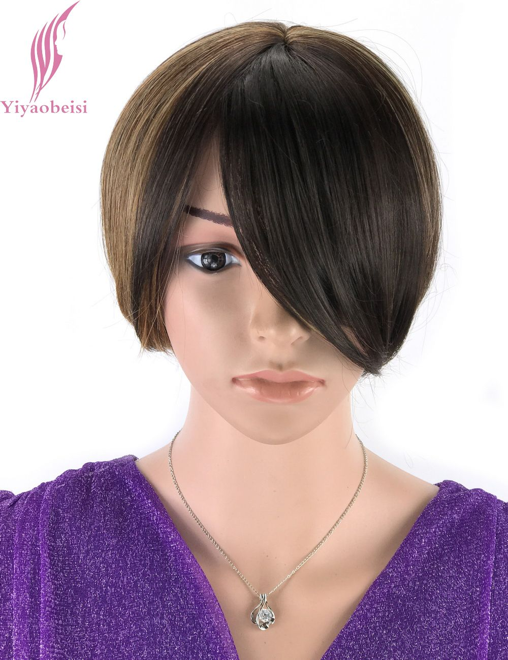Yiyaobess inch straight brown blonde ombre wig with bangs heat