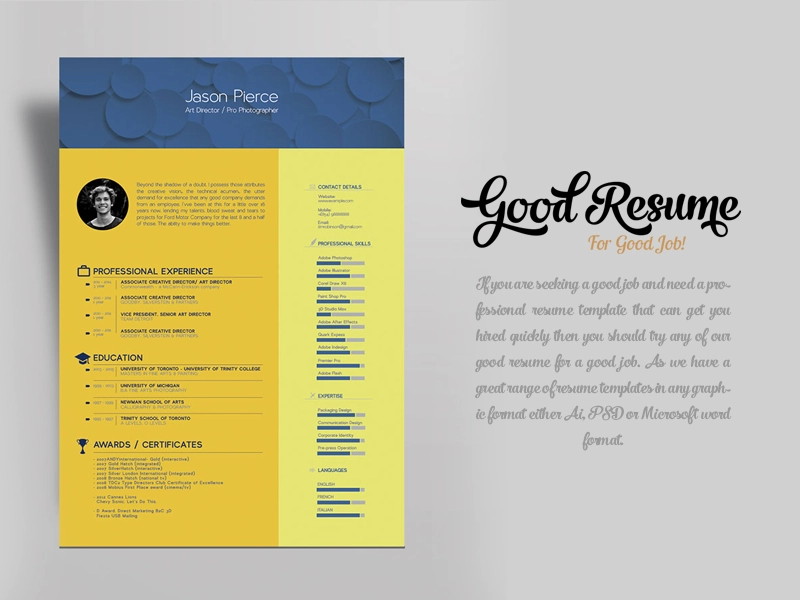 Free Resume Template for Graphic Designer & Art Director