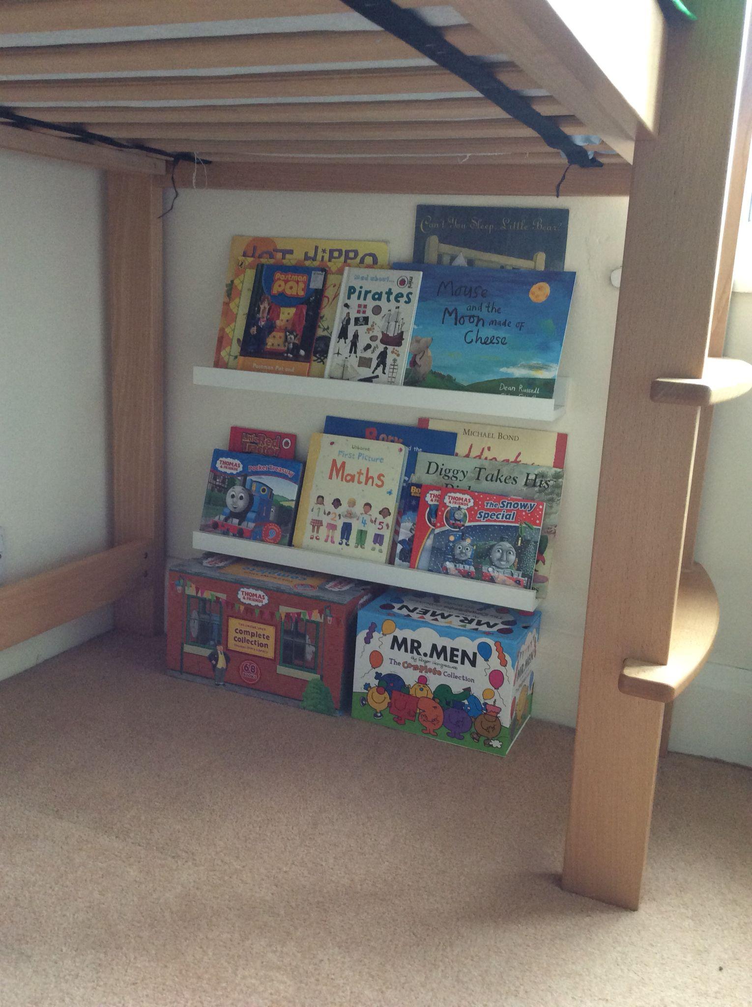 ikea ribba picture ledges used to create bookshelves and a mini