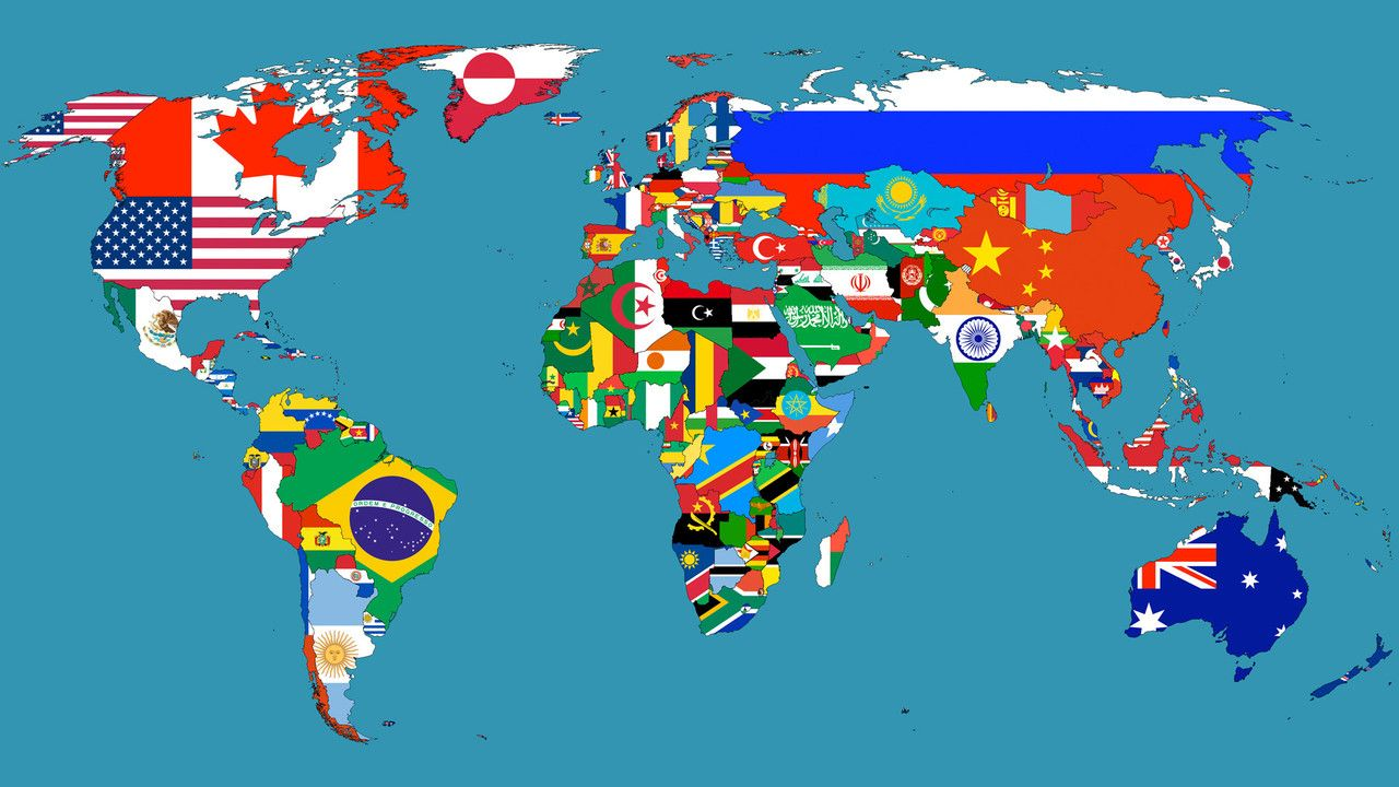 World map showing countries with their flags map pr0n pinterest world map showing countries with their flags gumiabroncs Choice Image