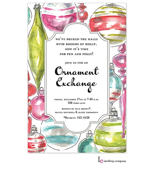 ornament exchange christmas party invitations ornament exchange