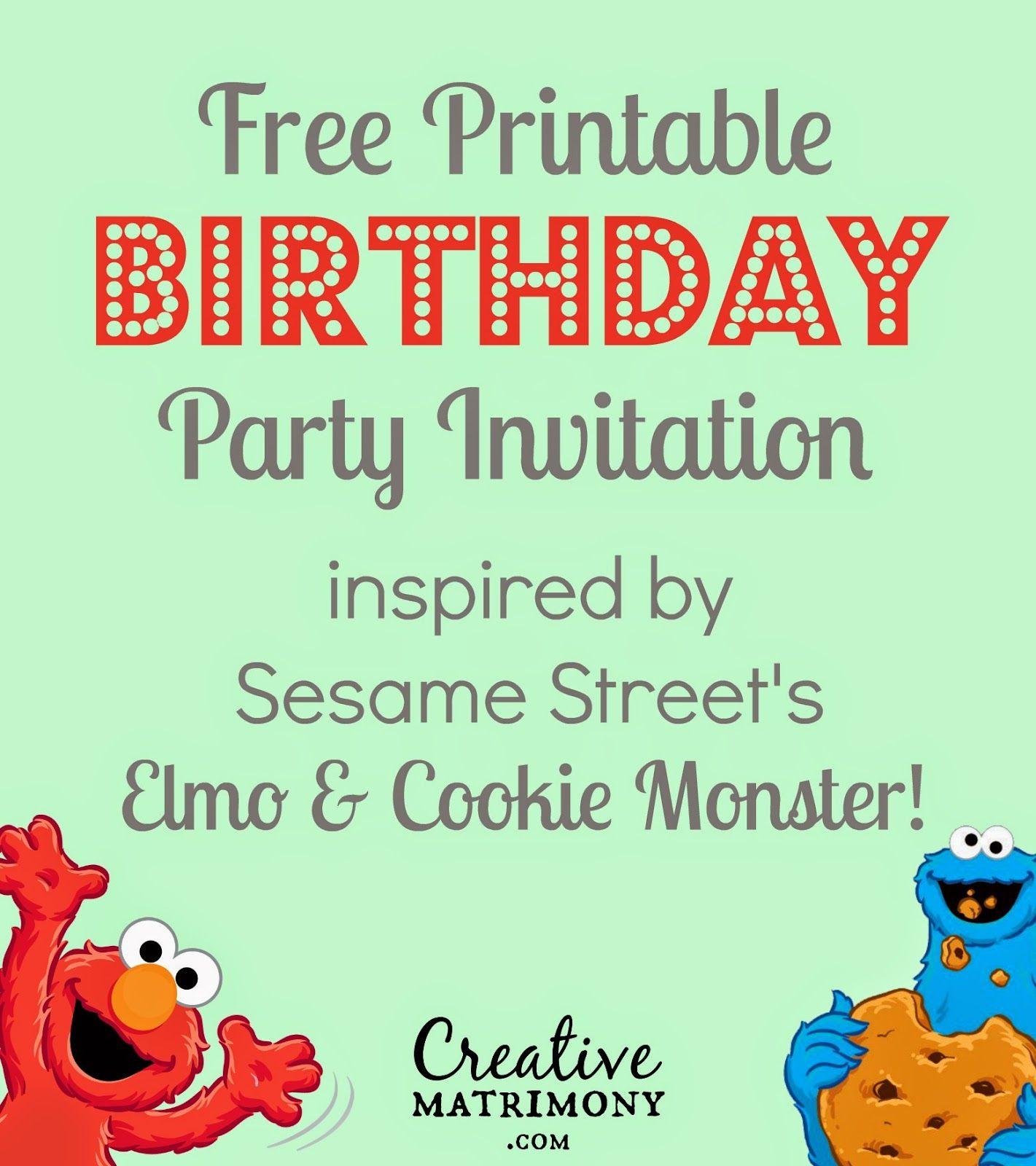 Creative Matrimony: Free Sesame Street Inspired Birthday ...