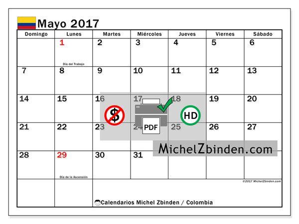 Calendario 2017 Colombia.Calendario Mayo 2017 Dias Festivos En Colombia Lugares