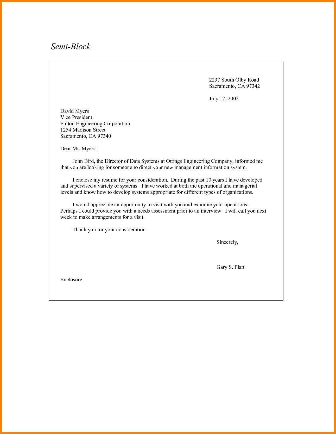 Semi Block Stylemi Style Letter Format Application Writing