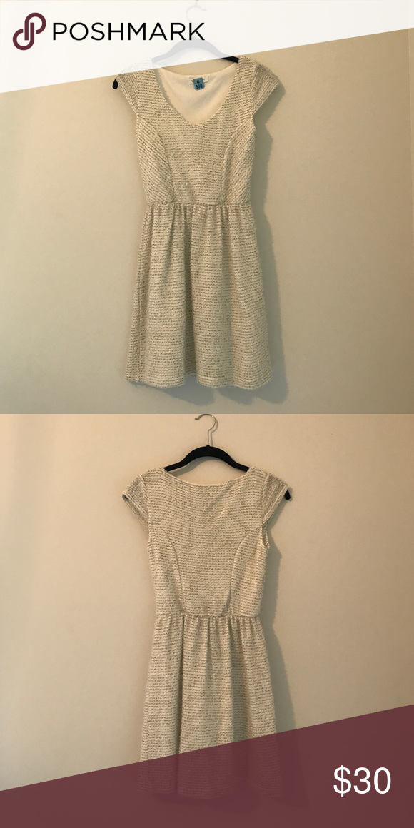 Cream Dress Cream Dress With Black And White Line Details Great