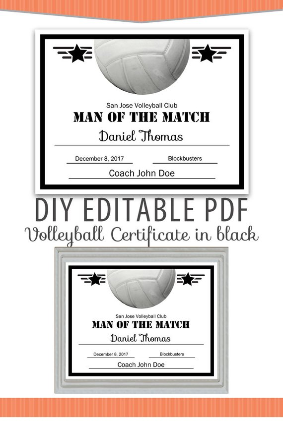 Editable Pdf Sports Team Volleyball Certificate Diy Award Template