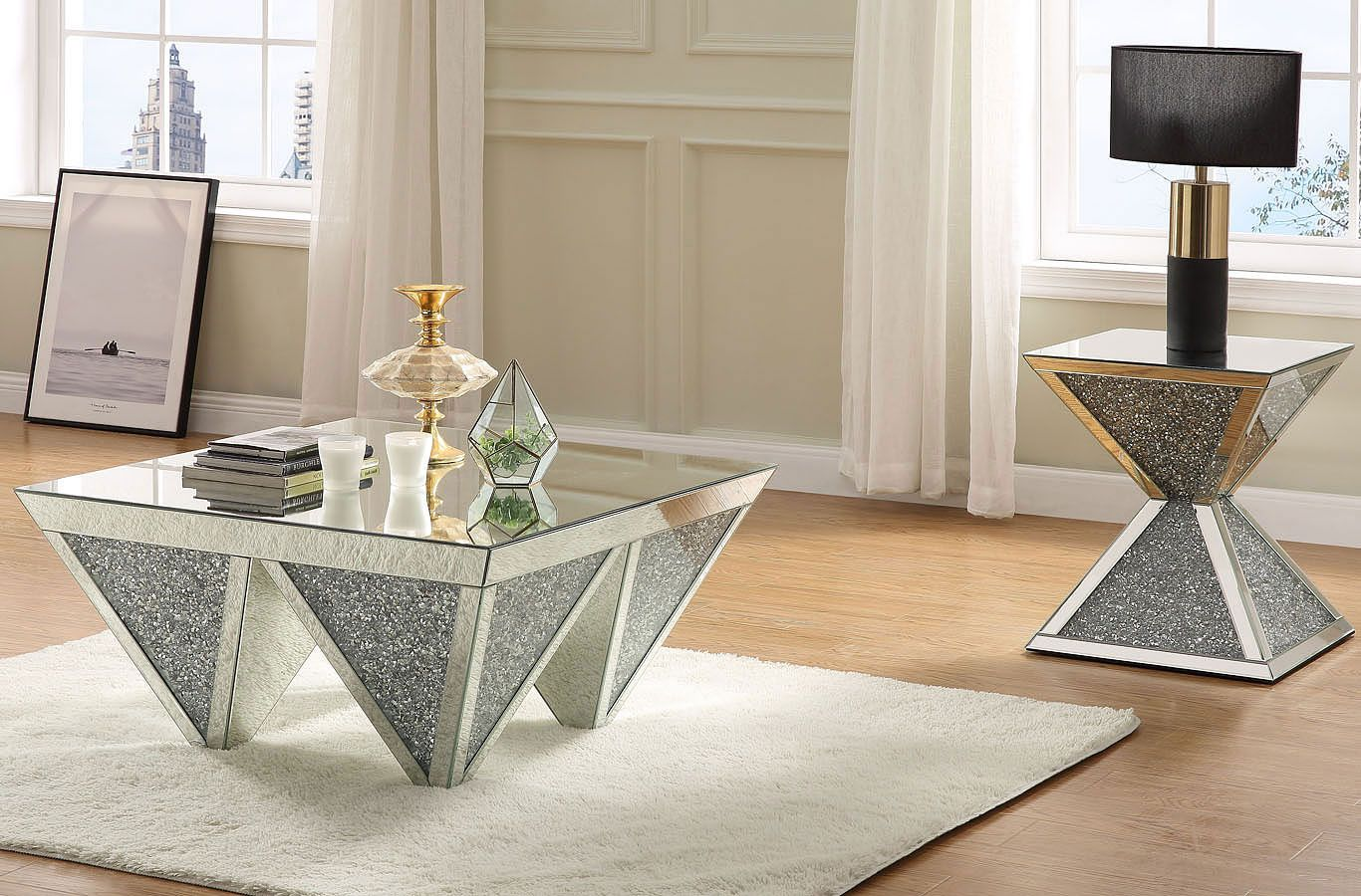 Noralie Mirrored Occasional Table Set In 2021 Coffee Table Coffee Table Setting Furniture [ 900 x 1366 Pixel ]
