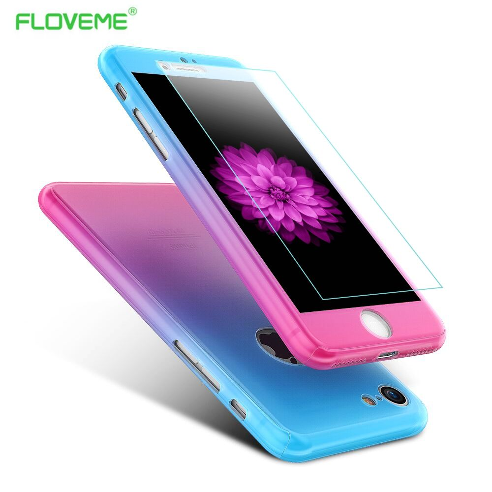 floveme fashion gradient color 360 degree full body protection coverfloveme fashion gradient color 360 degree full body protection cover cases for iphone 6s 7 plus case with glass screen protector