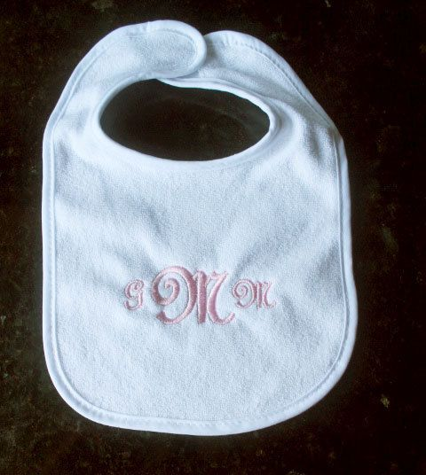 Personalised Blue Dribble Bib with Initial Monogramme