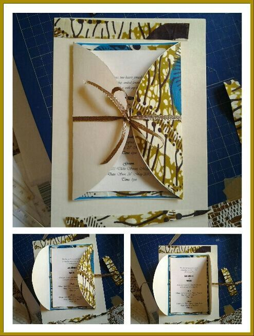 made from a south african tradition cloth perfect for a tradional wedding invite
