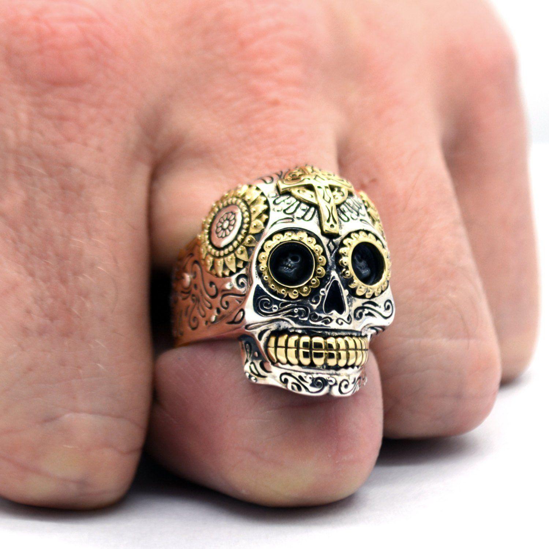 Sugar Skull Ring in Sterling Silver Biker Ring Calavera Ring Day of the Dead Dia de los Muertos Gothic Jewelry