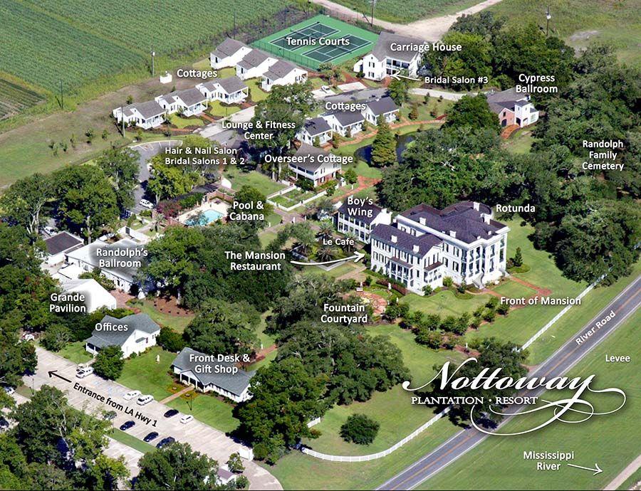 Map Of Louisiana Plantation Homes.Nottoway Plantation Property Map Yummo Louisiana Plantations