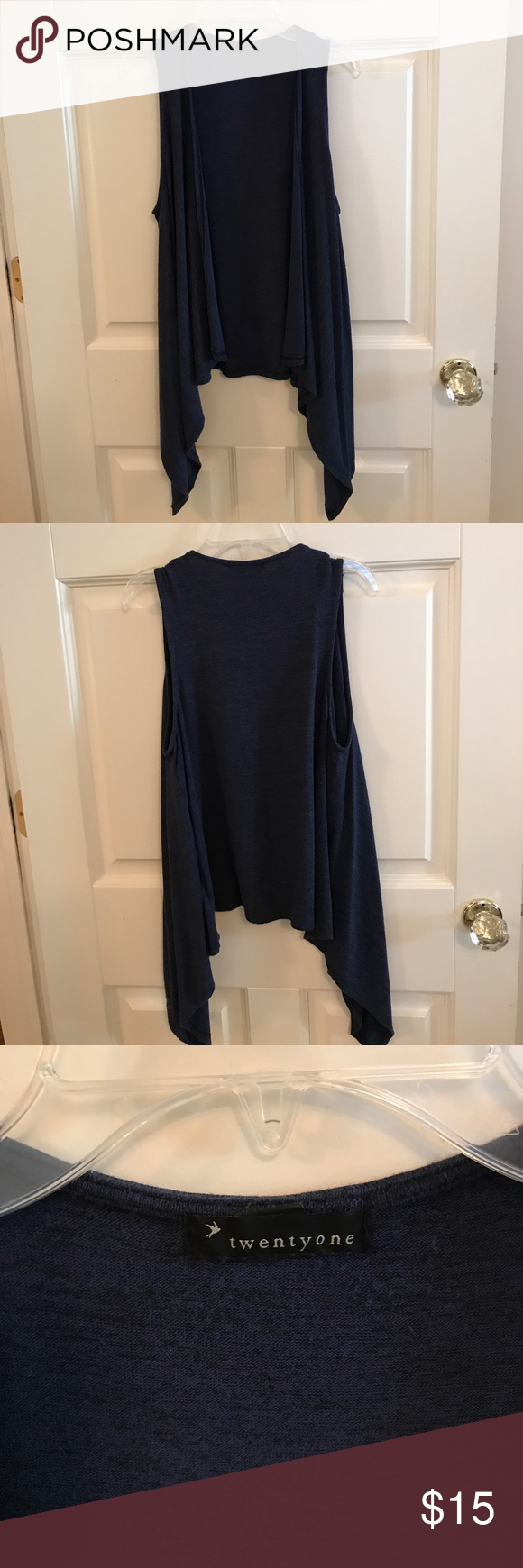 {F21} Drape Vest Dark navy color. Can be dressed up or down. {ask questions & make offers} Forever 21 Jackets & Coats Vests