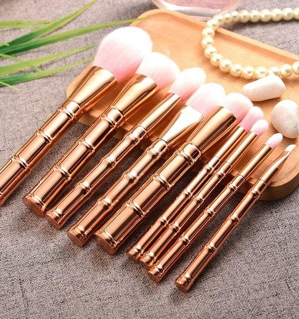 Source 2017 custom cosmetic makeup brushes ! 9pcs shiny