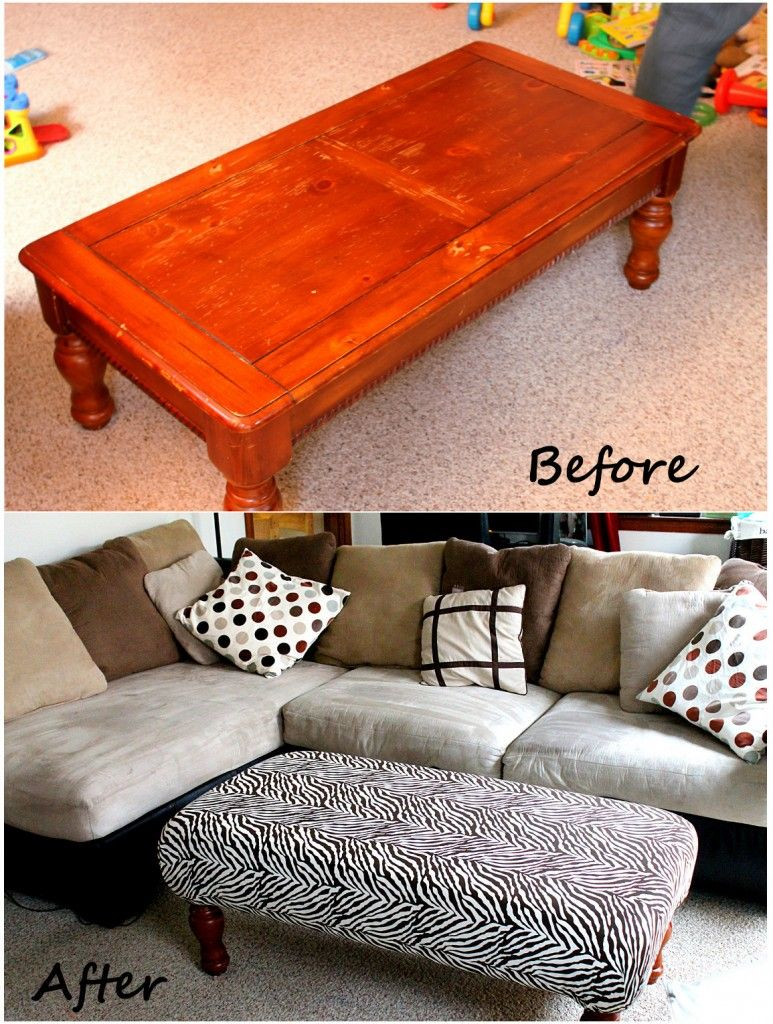 Old Coffee Table Makeovers Diy Ottoman Might Be Great To Pad Our Coffee Table To Protect Out