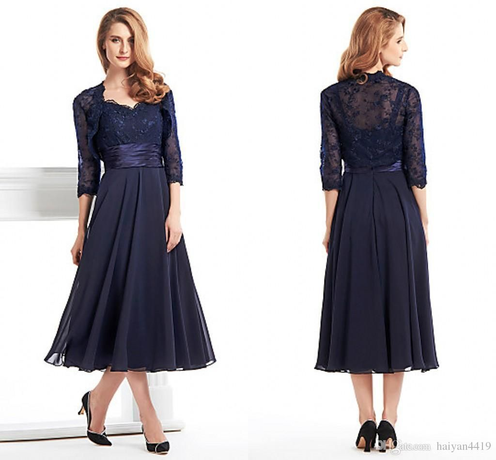 2016 vintage mother of the bride dresses sweetheart navy for Dress and jacket for wedding guest