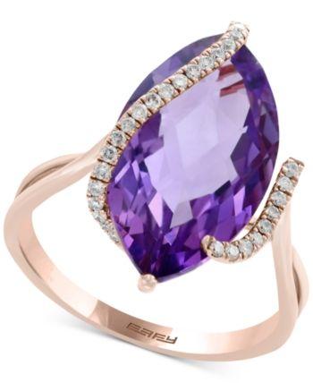 688cbf5b533b4 Effy Pink Amethyst (6-5/8 ct. t.w.) & Diamond (1/8 ct. t.w.) Ring in ...