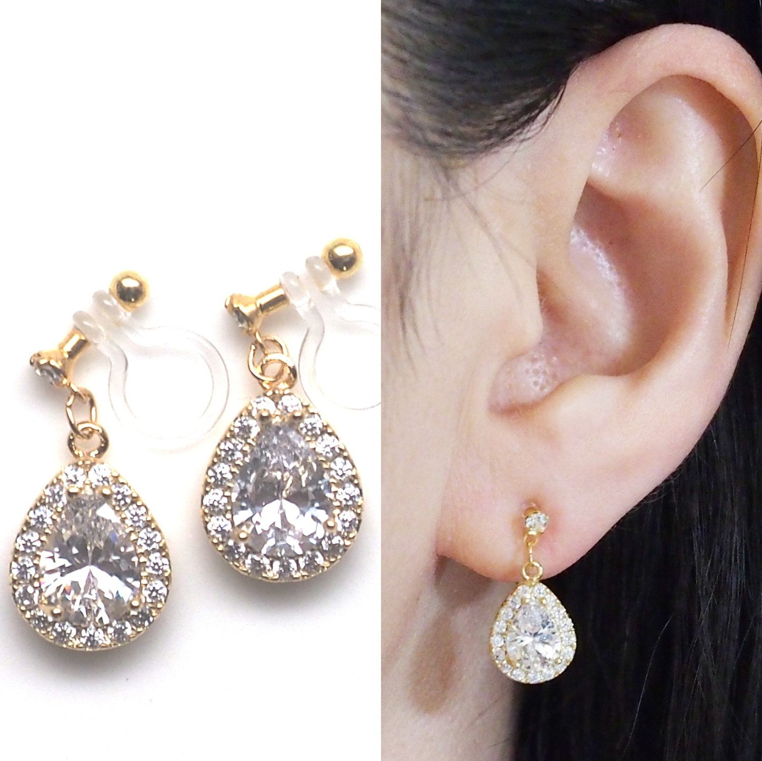 Bridal Clip-on Earrings Crystal Invisible Clip on Earrings Sparkly Cubic Zirconia Stud Clip ons 8 mm CZ Comfortable Non Pierced Earrings