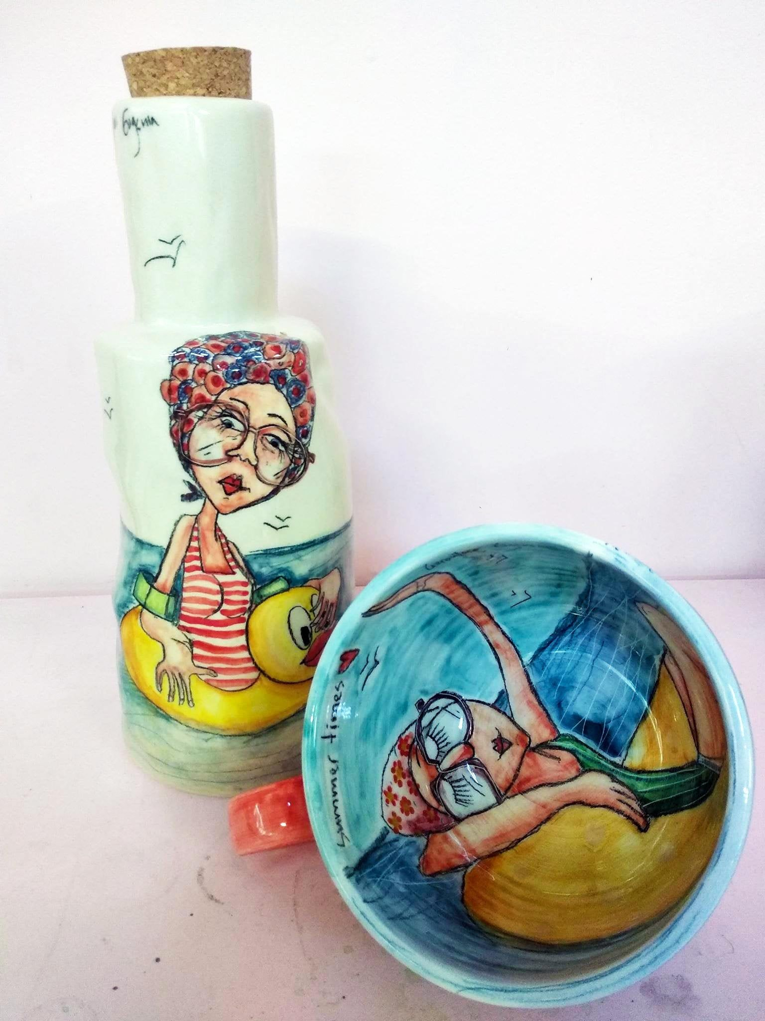 Excited to share the latest addition to my #etsy shop: Summer is here! This ceramic set consists of a large bottle, ideal for milk & an XL cup, perfect for your cereal. Handmade and handpainted!  #ceramics #art #unique #etsyseller #etsyhandmade #giftforher