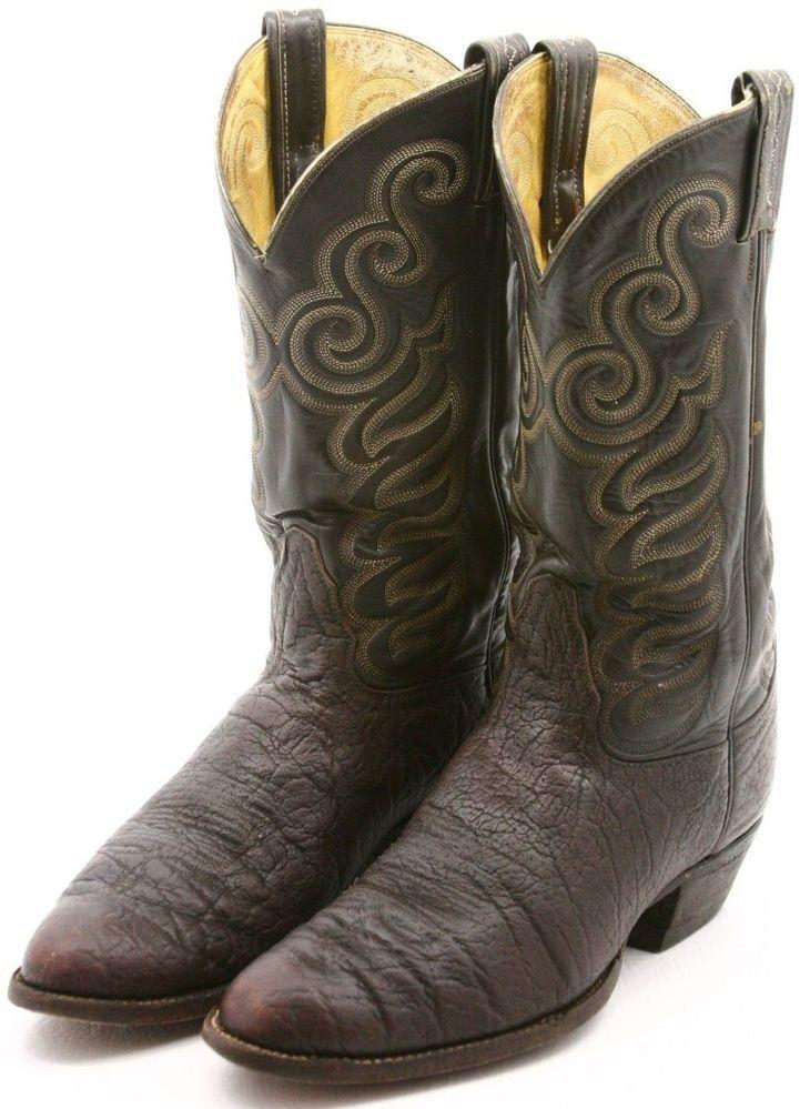 b2bbb6d679e Tony Lama Cowboy Boots Size 11 D Exotic Elephant Vintage Black Label ...