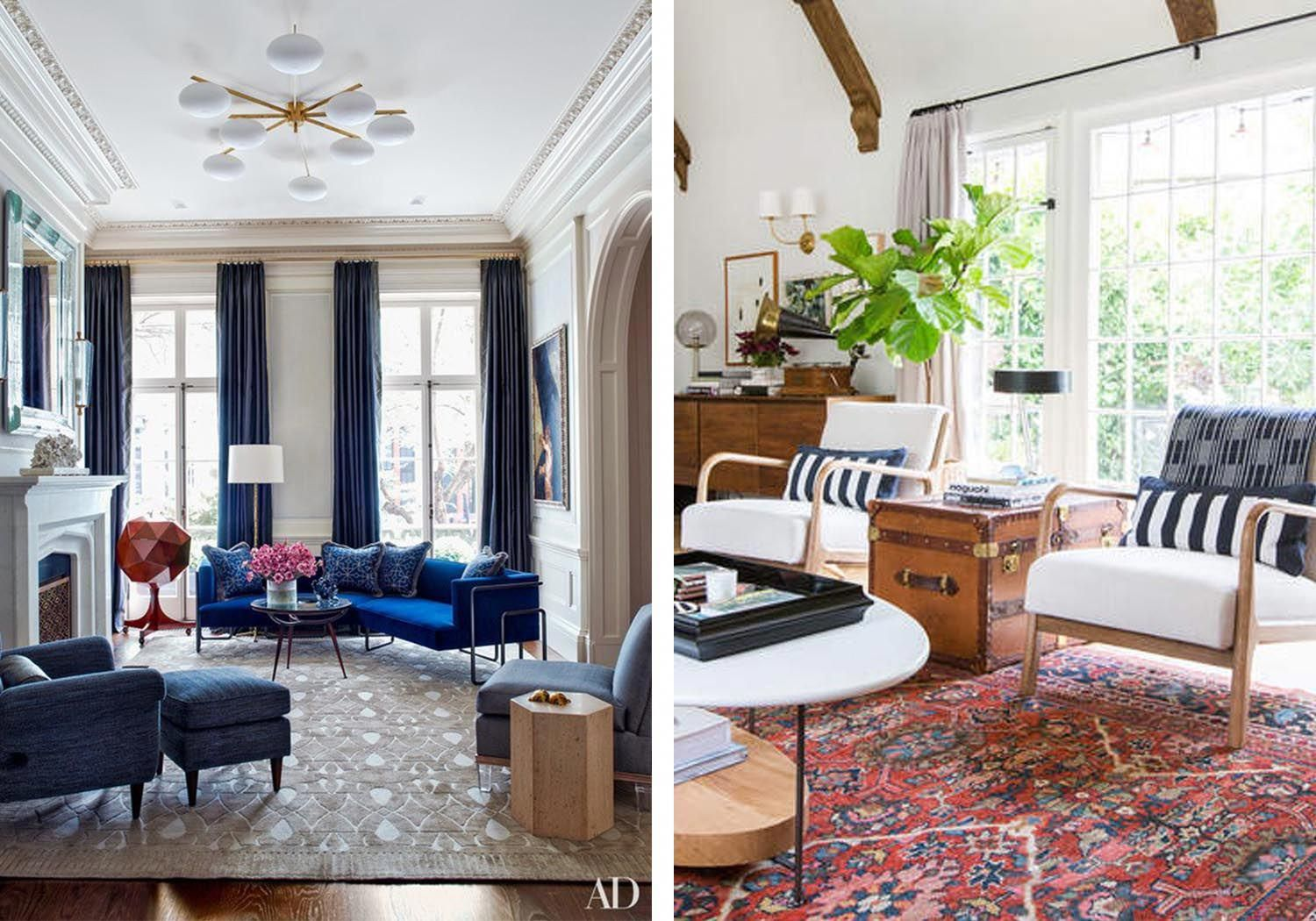 Traditional style meets contemporary aesthetic in these stylish interiors in the grand living room on the left a blue sofa and chic pendant light fixture