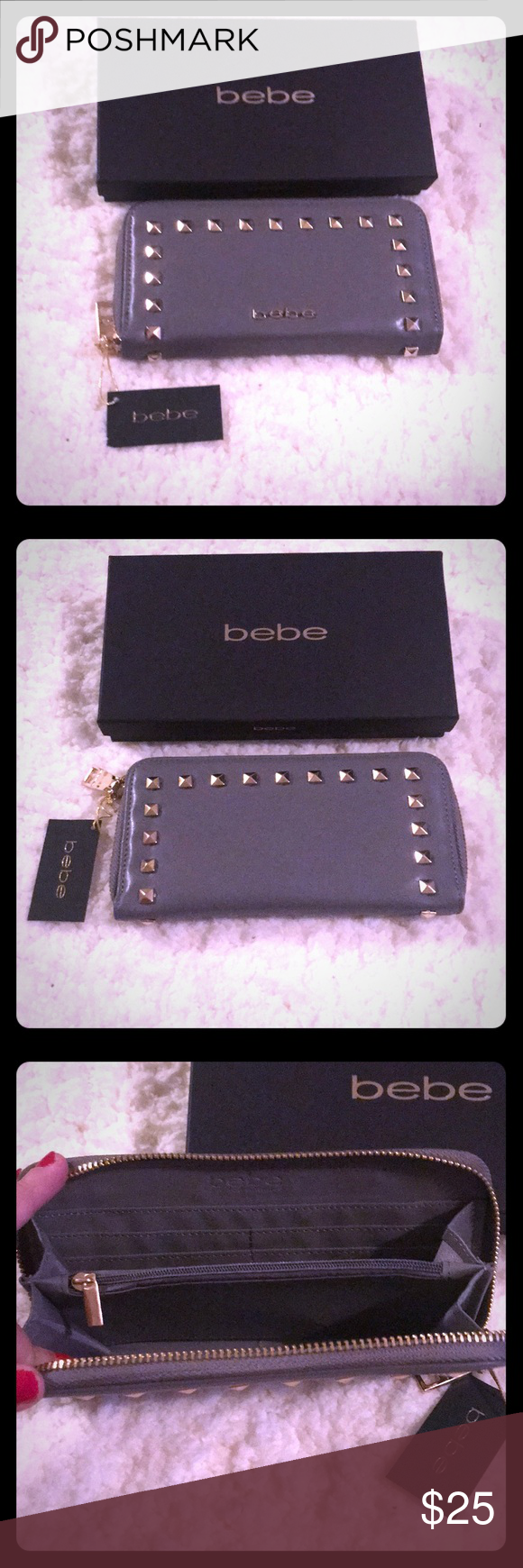 fb3a64a19a bebe Wallet NWT NWT, comes in box, bebe Jane zip around wallet, Grey, with  gold accents, Retail: $39.00 bebe Bags Wallets