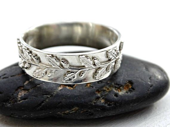 Meval Wedding Ring Womens Fairy Tale Band Pagan Leaf Engagement Oak Silver Twig Lace