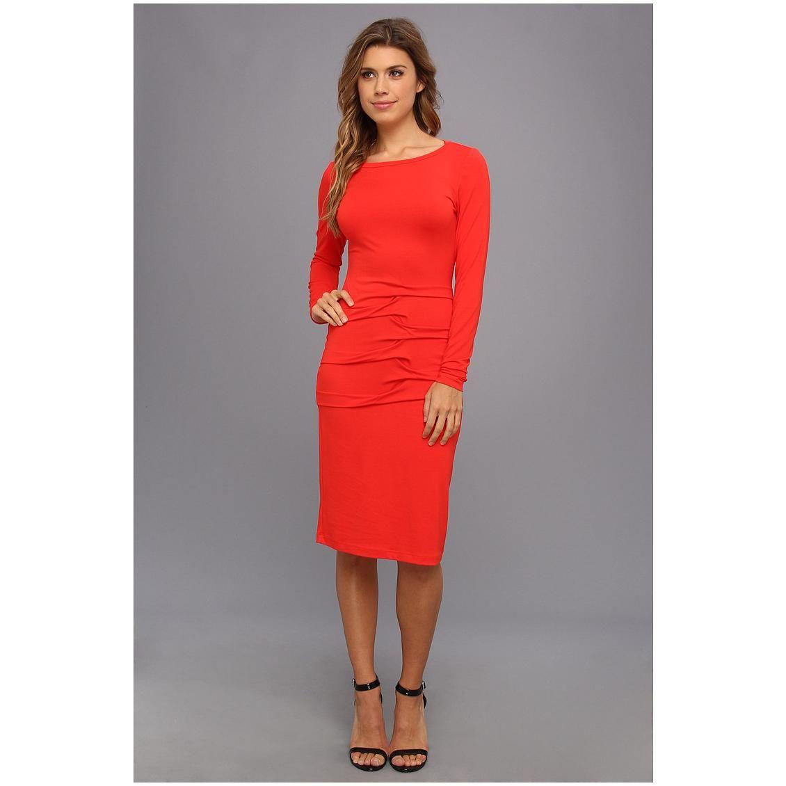 Cheap red ruffle front longsleeve mini dress wholesale at dearlover