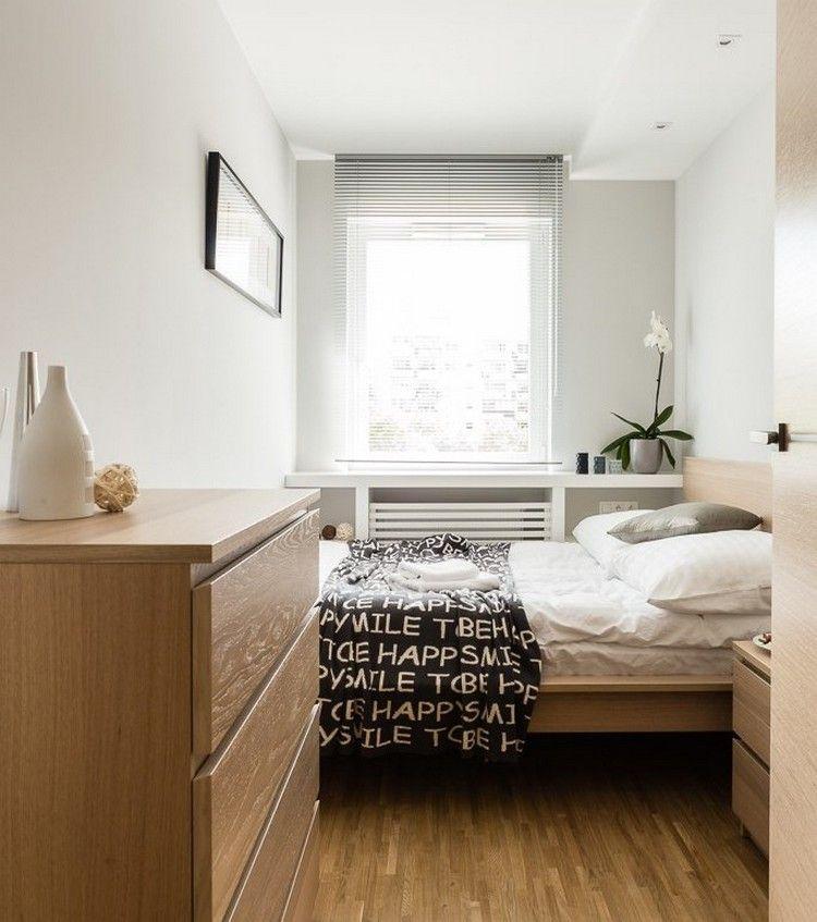 Wohnungseinrichtung Ideen Schlafzimmer Holzbett Kommode Fensterbank