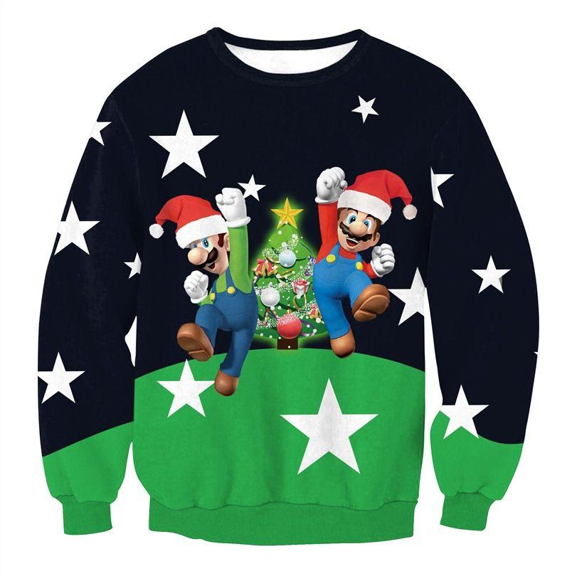 644ba1dd1a4a Funny Print Stars Mario Santa Claus Sweatshirt 3D Christmas Sweatshirts Men  Women Casual Hoodies Fashion Long Sleeve Pullovers