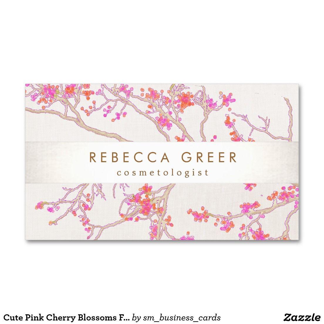 Tarjeta De Visita Belleza floral de las flores de cerezo rosadas ...
