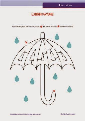 Permainan Anak Untuk Paud Balitatk Gambar Labirinmaze Payung