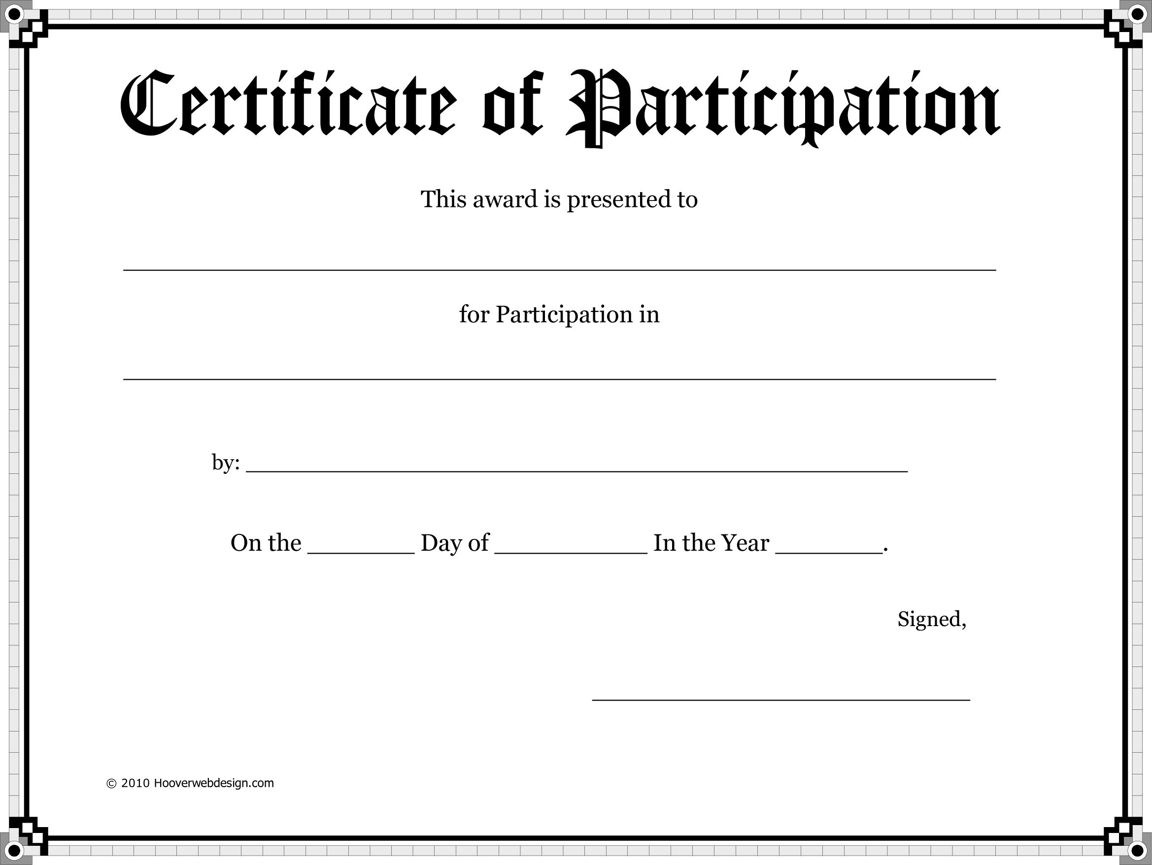Certificate Of Participation Template Word Certificate Of Participation Template Awards Certificates Template Free Printable Certificate Templates Certificate of participation template word