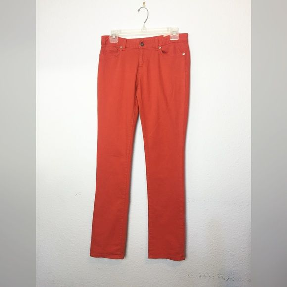 "LOWEST PRICE Tommy Hillfiger red/orange jeans Red/orange Tommy Hilfiger straight jeans size 2. Waist: 15"" across. Inseam: 31"". Tommy Hilfiger Jeans Straight Leg"