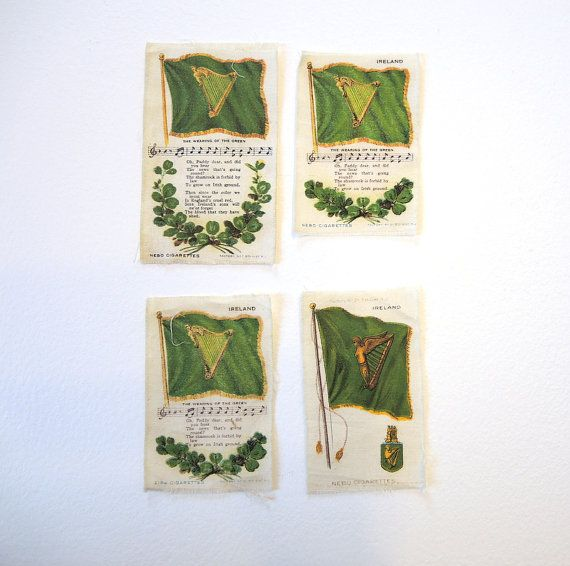 Irish Green Cigarette Silks Collectible Antique by injoytreasures, $24.00