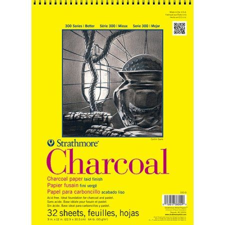 Strathmore Charcoal Paper Pad, 9 inch x 12 inch, 64lb White 32 Sheets