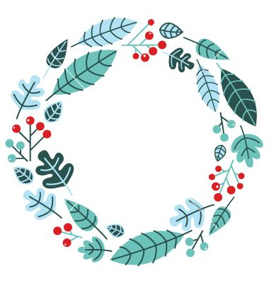 Christmas retro holiday wreath isolated on white vector art ...