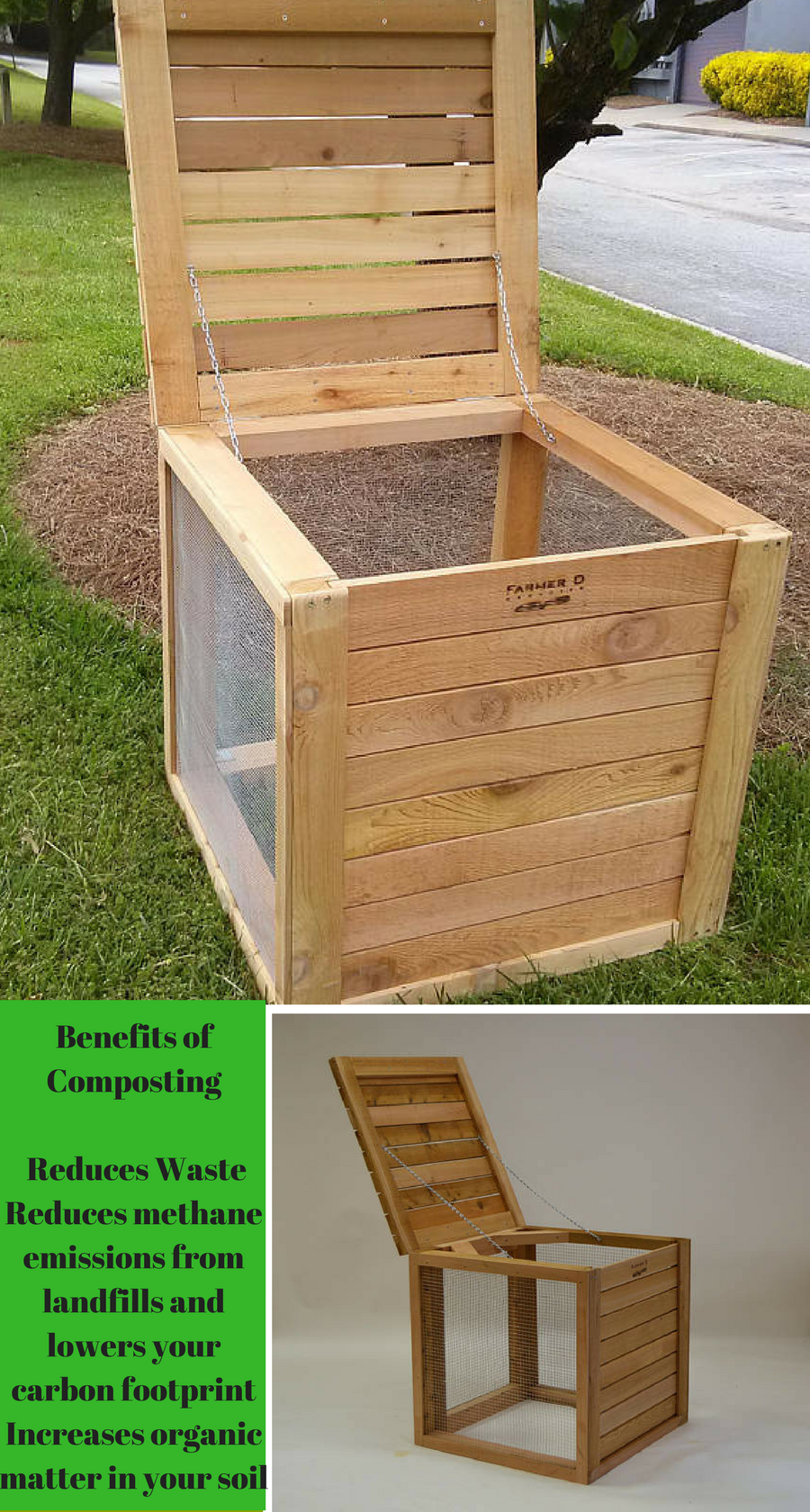 This Farmer D Handmade Cedar Compost Bin Serves As A Near Rodent Proof Container For Your Composting Kitchen Ss And Yard Clippings