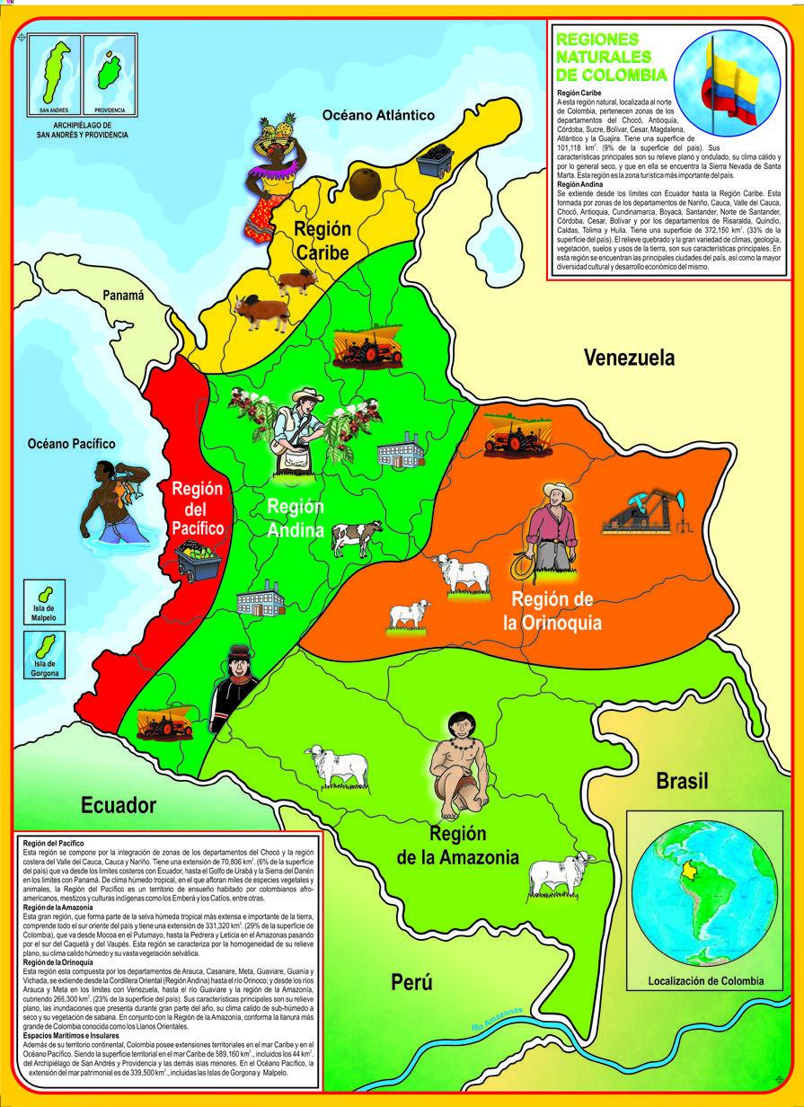 Rompecabezas Mapa De Colombia Regiones Pinterest