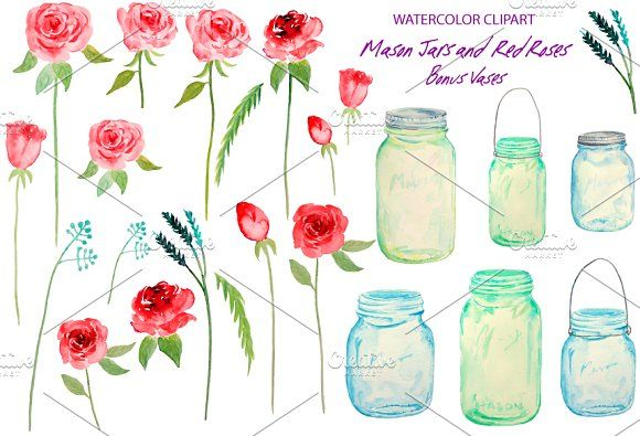 Watercolor Mason Jars Red Roses by Corner Croft on @creativemarket