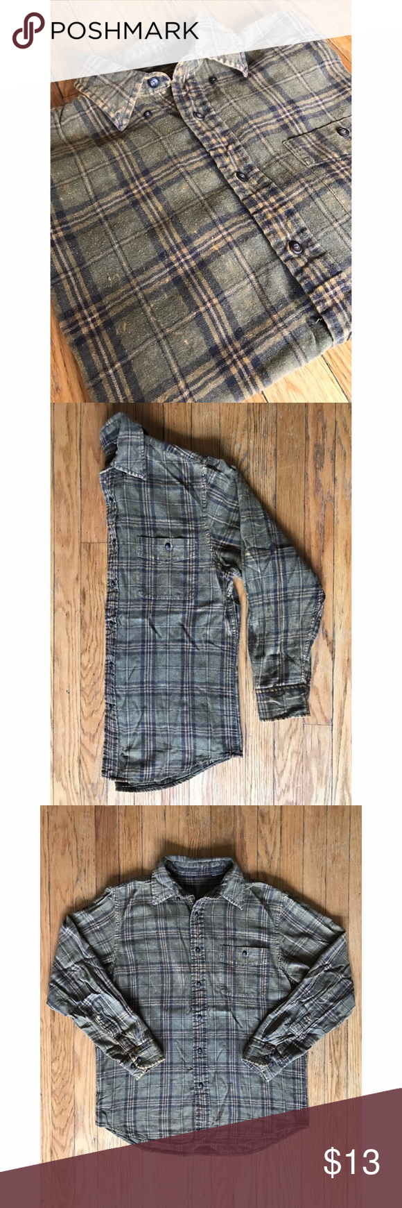Urban Outfitters Flannel Part of the Urban Renewal line, fits small/medium. Worn in/distressed looked but barely worn, close up photos are truest to color. Urban Outfitters Tops Button Down Shirts