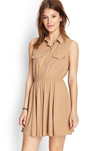 Fit flare cocktail dress tan