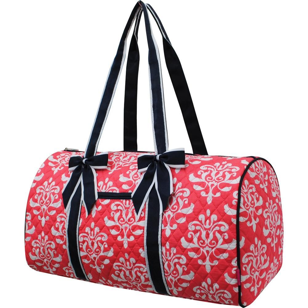 Red Damask Pattern Gym Bag