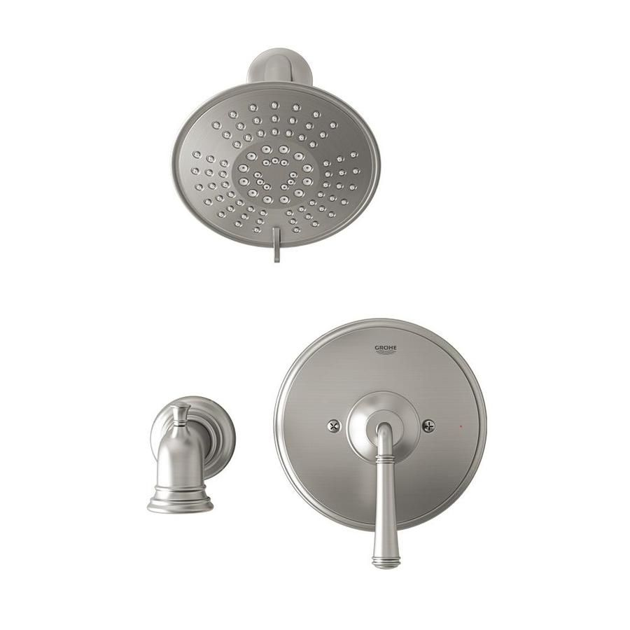 Grohe Gloucester Brushed Nickel 1 Handle Bathtub And Shower Faucet