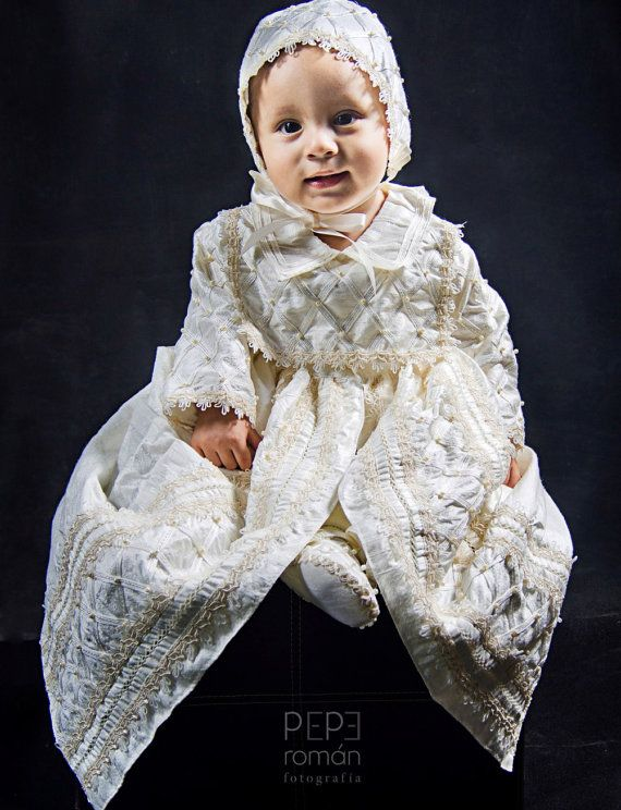 bd77f0890f28a0 Baby Boy Christening outfit Spanish Style Gown ropones by Burbvus ...
