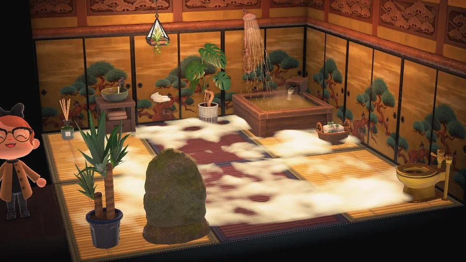 I M Going To Change The Flooring But While I Wait For The Right Rugs In The Mail Here S My Bathroom Animal Crossing Pc Animal Crossing Funny Animal Crossing